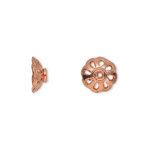 bead cap, copper, 11x4mm flower with cutouts, fits 10-12mm bead. sold per pkg of 20.