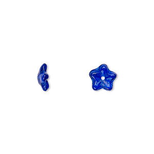 bead cap, czech pressed glass, cobalt, 8x3mm flower, fits 6-8mm bead. sold per pkg of 50.