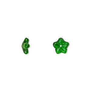 bead cap, czech pressed glass, emerald green, 8x3mm flower, fits 6-8mm bead. sold per pkg of 50.