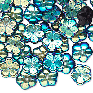 bead cap, czech pressed glass, jet ab, 10x3mm flower, fits 8-10mm bead. sold per pkg of 50.