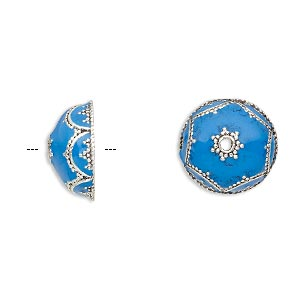 bead cap, enamel and antique silver-plated brass, opaque turquoise blue, 14.5x6.5mm beaded round, fits 12-14mm bead. sold per pkg of 2.