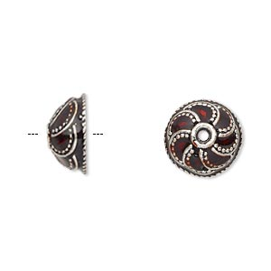 bead cap, enamel and antique silver-plated brass, transparent red, 13x6mm beaded round, fits 10-12mm bead. sold per pkg of 2.