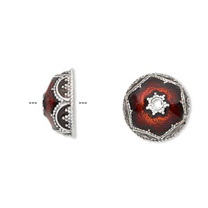 bead cap, enamel and antique silver-plated brass, transparent red, 14.5x6.5mm beaded round, fits 12-14mm bead. sold per pkg of 2.