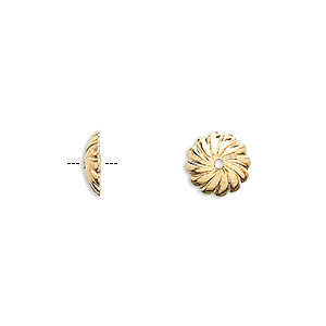 bead cap, gold-plated brass, 10x2.5mm round with swirl design, fits 10-12mm bead. sold per pkg of 20.