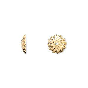 bead cap, gold-plated brass, 10x2.5mm round with swirl design, fits 10mm bead. sold per pkg of 100.