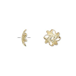 bead cap, gold-plated brass, 10x3mm fancy leaf, fits 10-12mm bead. sold per pkg of 1,000.