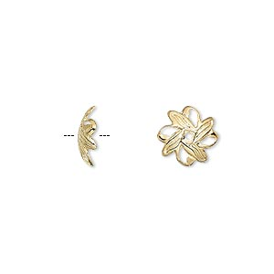 bead cap, gold-plated brass, 10x3mm fancy leaf with cutouts, fits 10-12mm bead. sold per pkg of 500.