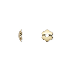 bead cap, gold-plated steel, 7x2mm flower, fits 8-10mm bead. sold per 6-1/2 inch strand, approximately 300 bead caps.