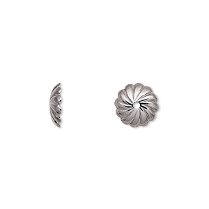 bead cap, gunmetal-plated brass, 10x2.5mm round with swirl design, fits 10mm bead. sold per pkg of 10.