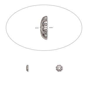 bead cap, gunmetal-plated brass, 3x1mm ribbed round, fits 4mm bead. sold per pkg of 100.