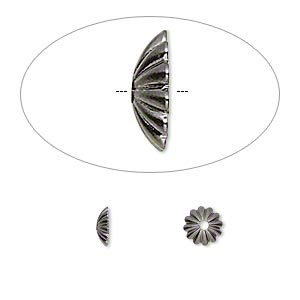 bead cap, gunmetal-plated brass, 6x2mm ribbed round, fits 6-8mm bead. sold per pkg of 100.
