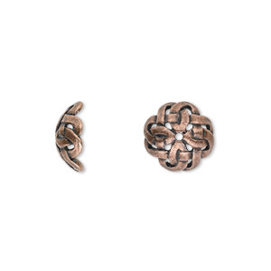 bead cap, jbb findings, antique copper-plated pewter (tin-based alloy), 11x4.5mm celtic knot, fits 10-14mm bead. sold per pkg of 2.
