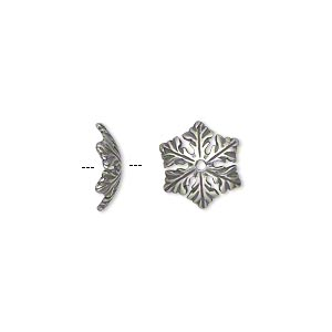bead cap, jbb findings, antique silver-plated pewter (tin-based alloy), 10x3mm snowflake, fits 12-14mm bead. sold per pkg of 2.