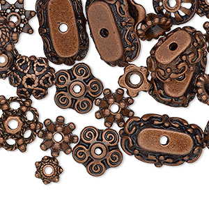 bead cap mix, antique copper-finished pewter (zinc-based alloy), 6x2mm-18x6mm mixed shapes. sold per pkg of 50.