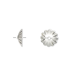 bead cap, silver-finished brass, 10x3mm flower, fits 12-16mm bead. sold per pkg of 100.