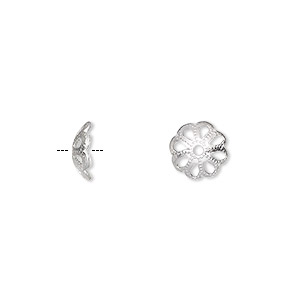bead cap, silver-plated aluminum, 8x2mm round, fits 10-12mm bead. sold per pkg of 100.