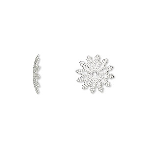 bead cap, silver-plated brass, 11x2mm flat filigree, fits 12-14mm bead. sold per pkg of 100.