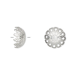 bead cap, silver-plated brass, 12x6mm filigree dome, fits 12-14mm bead. sold per pkg of 100.
