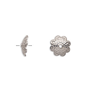 bead cap, stainless steel, 11x3mm round with swirls design, fits 10-12mm bead. sold per pkg of 20.
