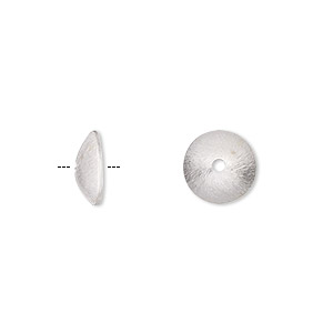 bead cap, sterling silver, 10x2mm brushed round, fits 9-10mm bead. sold per pkg of 4.