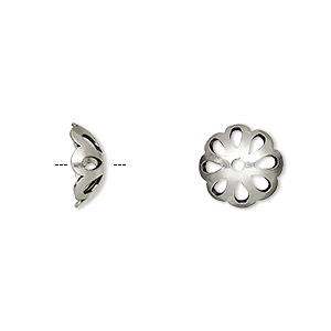 bead cap, sterling silver, 11x4mm round with cutout design, fits 10-11mm bead. sold per pkg of 4.