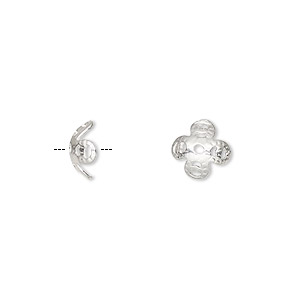 bead cap, sterling silver, 8x3mm flower, fits 7-9mm bead. sold per pkg of 6.