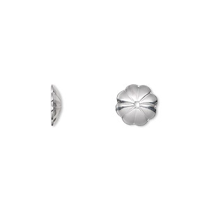 bead cap, sterling silver, 9x2mm flower, fits 10-12mm bead. sold per pkg of 2.