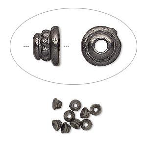 bead cap, tierracast, black-plated pewter (tin-based alloy), 3.5x2mm beaded round, fits 2-4mm bead. sold per pkg of 10.