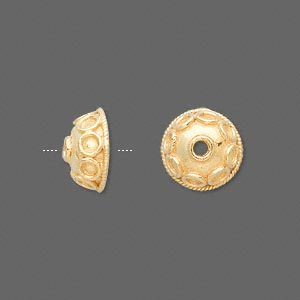 bead cap, vermeil, 12x6mm round with circles, fits 10-12mm bead. sold per pkg of 2.