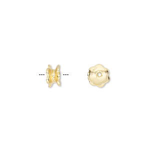 bead cap, vermeil, 6x4mm double round, fits 6-8mm bead. sold per pkg of 12.