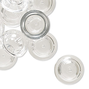 bead cap, vintage german acrylic, clear, 16mm round, fits 7-8mm bead. sold per pkg of 24.