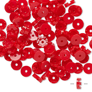 bead cap, vintage german acrylic, red, 6x2mm scalloped round, fits 3.5mm bead. sold per pkg of 100.