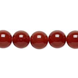 bead, carnelian (dyed / heated), 10mm round, c grade, mohs hardness 6-1/2 to 7. sold per 16-inch strand.