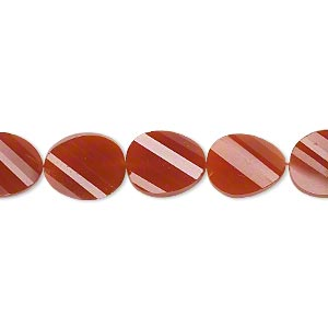 bead, carnelian (dyed / heated), 11x9mm hand-cut faceted twisted flat oval, b+ grade, mohs hardness 6-1/2 to 7. sold per pkg of 5.