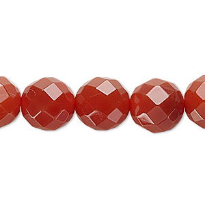 bead, carnelian (dyed / heated), 12mm faceted round, c grade, mohs hardness 6-1/2 to 7. sold per 16-inch strand.