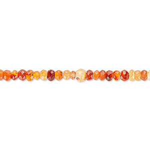 bead, carnelian (dyed / heated), 3x2mm faceted rondelle, c grade, mohs hardness 6-1/2 to 7. sold per 16-inch strand.