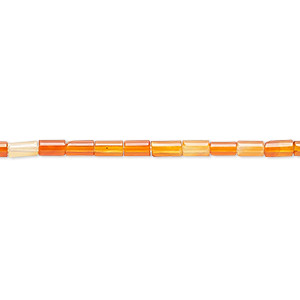 bead, carnelian (dyed / heated), 4x2mm round tube, c grade, mohs hardness 6-1/2 to 7. sold per 16-inch strand.