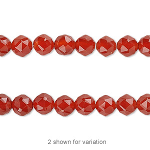 bead, carnelian (dyed / heated), 6mm rose-cut round with 0.5-1.5mm hole, b grade, mohs hardness 6-1/2 to 7. sold per 8-inch strand, approximately 30 beads.