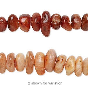 bead, carnelian (dyed / heated), extra-large hand-cut chip with 0.4-1.4mm hole, mohs hardness 6-1/2 to 7. sold per 16-inch strand.