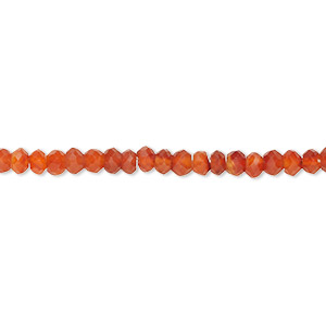 bead, carnelian (heated), light to dark, 3x2mm-4x3mm hand-cut faceted rondelle, b- grade, mohs hardness 6-1/2 to 7. sold per 16-inch strand.
