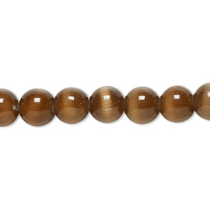 bead, cats eye glass, brown, 8mm round, quality grade. sold per 16-inch strand.