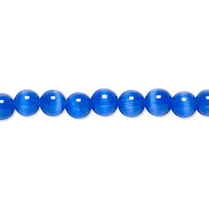 bead, cats eye glass, dark blue, 6mm round, quality grade. sold per 16-inch strand.
