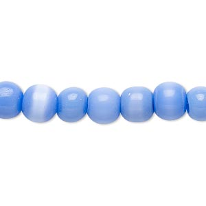 bead, cats eye glass, dark blue-violet, 7-8mm round. sold per 15-inch strand.