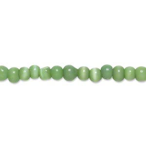 bead, cats eye glass, green, 3-4mm round, economy grade. sold per 15-inch strand.