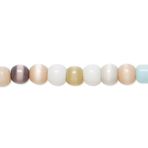 bead, cats eye glass, multicolored, 5-6mm round. sold per 15-inch strand.