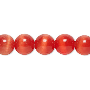 bead, cats eye glass, orange-red, 10mm round, quality grade. sold per 16-inch strand.