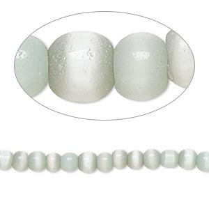 bead, cats eye glass, soft grey, 3-4mm round. sold per 15-inch strand.