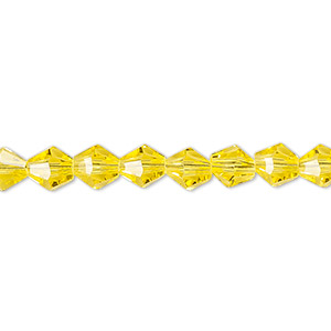 bead, celestial crystal, 16-facet, transparent yellow, 6mm faceted bicone. sold per 16-inch strand.