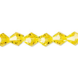 bead, celestial crystal, 16-facet, transparent yellow, 8mm faceted bicone. sold per 16-inch strand.