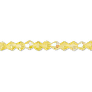 bead, celestial crystal, 16-facet, transparent yellow ab, 4mm faceted bicone. sold per 16-inch strand.
